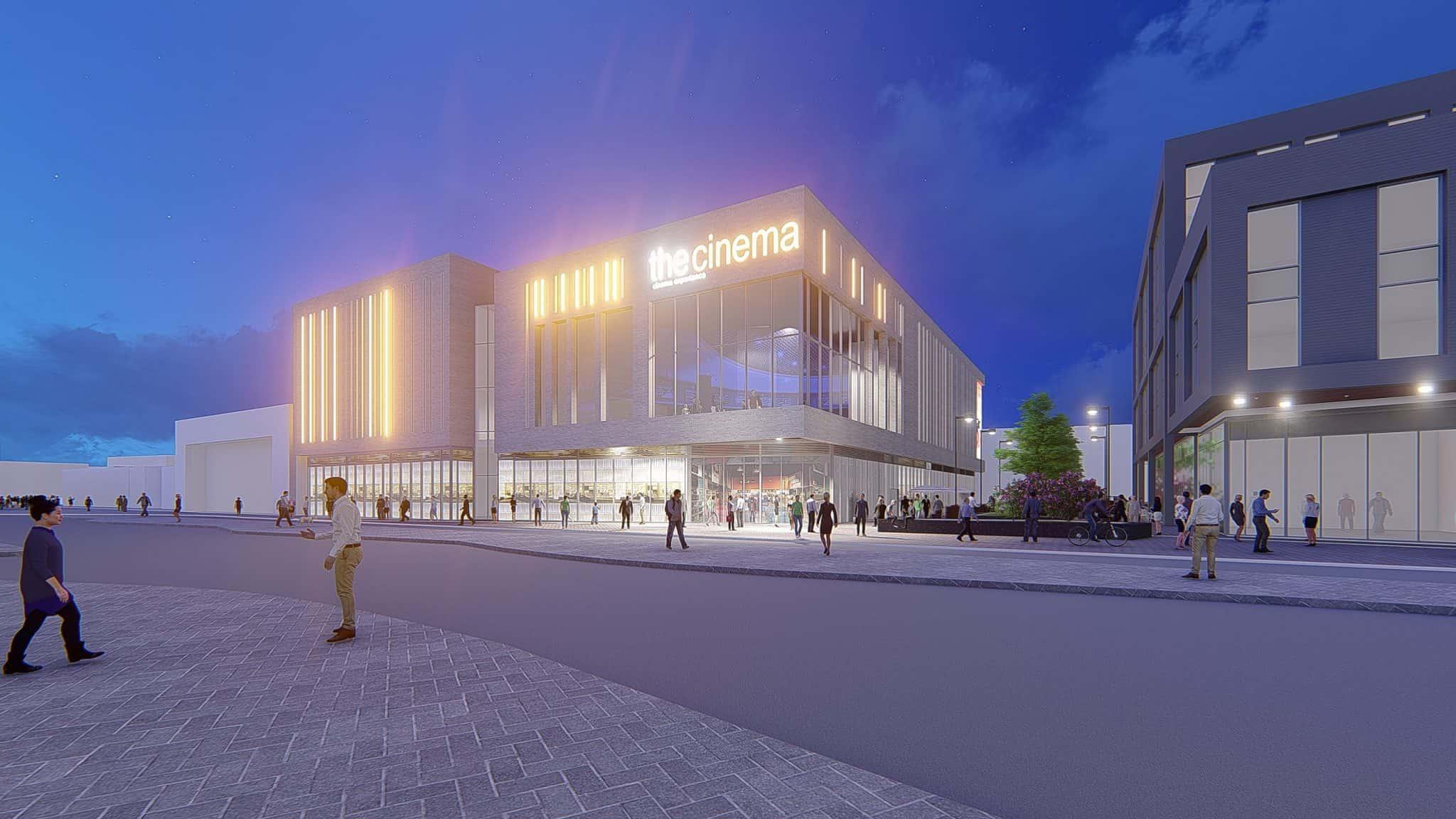 Beeston Phase 2 development, cinema at night